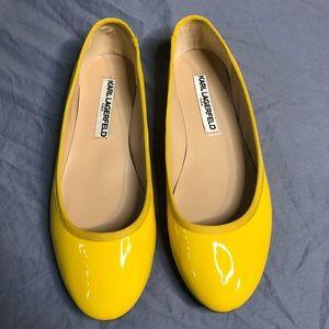 Karl Lagerfeld Paris Leroux Patent Leather Yellow Ballet Flats Size 7